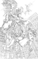 Batman and Catwoman pencil by cehnot
