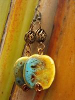 Ceramic beads and cooper earrings by Feeriee13
