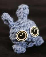 mini blue crochet bunny by disturbedpenguinpoo