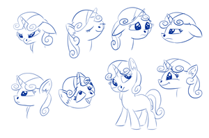 Sweetie Belle Expression Sketches #1 by OJhat