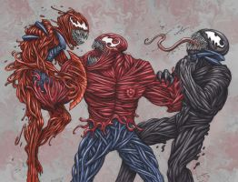 Toxin vs. Carnage and Venom by ECTmonster