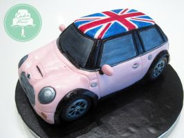 Pink Mini Cooper (Cake) by Sliceofcake
