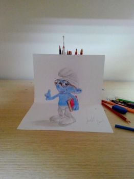 3D Drawing Art - Smurf by vexilloid