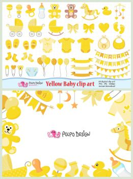 Yellow Baby Clipart by PolpoDesign