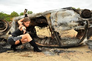 Stacey - Lara and burnt car 2 by wildplaces