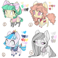 Earth Pony Adoptables (1-4) -3 OPEN- by grandifloru