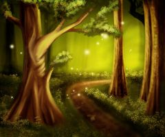 In the woods by Tumana-stock