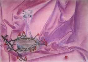pink fabric and glass by watari-yumiko