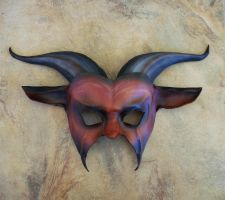 Leather Goat Mask brownish red and black by teonova