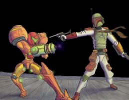 Samus vs Boba Fett by Brokenopenseed