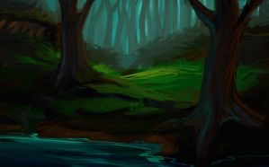 forest lake by Ardariel