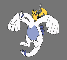 Pikachu riding Lugia with sword by RazerPony