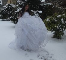White dress in Snow Stock 10 by NaomiFan