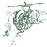 cyborg apache helicopter by boringcabage