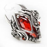 UXAMELIAN -Silver, Red Zirconia and Carnelian by LUNARIEEN