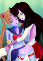 Sailor Moon and Mars by preposterous-panda