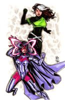 Psylocke and Rogue by montrosity