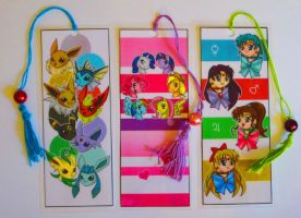 Fanime Con Bookmarks: Eevee, MLP, and SM by Foxy-Sketches