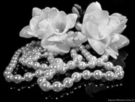 Flowers and pearls in black 3 by melnaapantera