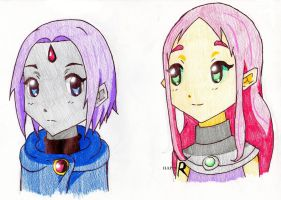 K-on Raven and Starfire by Happy-R