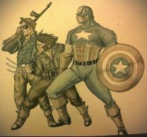 Cap, Bucky, and Wolverine WIP by randomality85