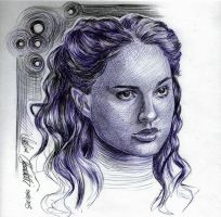 Natalie Portman as Amidala Ballpoint Pen Drawing by AngelinaBenedetti