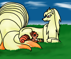 Ninetail and Vulpix by Desteny-Love