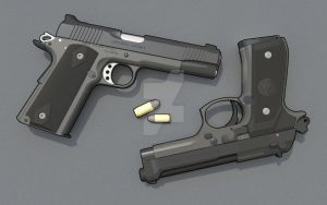 .45 vs 9mm by LuckyScribblings