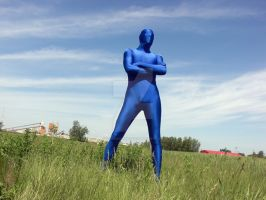 Shiny Blue Zentai in Field 3 by sicklilmonky