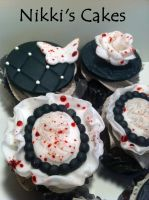 Blood Splatter Halloween Cupcakes by Corpse-Queen