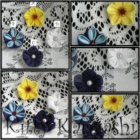 Double layered flower brooches by kittykanzashi