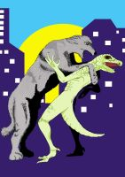 Wolfhound and Lizardman by Pylo