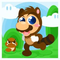 Tanooki Mario by Child-Of-Neglect
