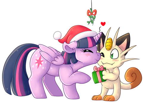 [Commission] - Christmas Kisses by Adoeable