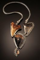Megalodon Shark Teeth Bullet and Skull Necklace by Haley-winter