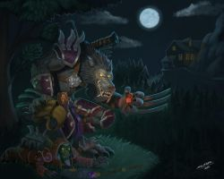 Worgen vs. goblin by ska-fandr