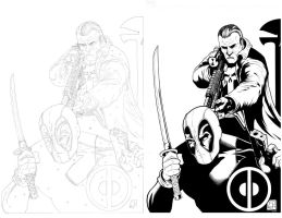 Punisher Deadpool Inks by TomParrish
