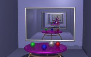 Raytraced 2-mirror infinity mirror room by mcsoftware