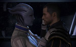 Liara and Shepard Gazing Into Each Other 1 by g805ge