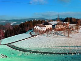 Village scenery in winter wonderland by patrickjobst