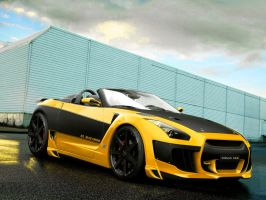 nissan gtr yellow by backo-designs