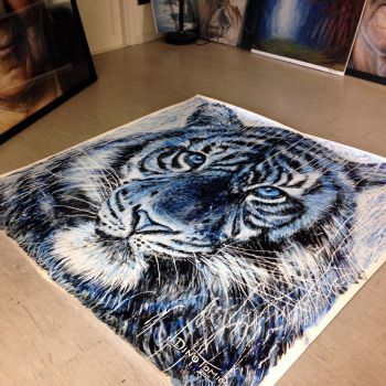 Tiger painting  found a new home by AtomiccircuS