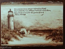 Sandy beach + verse - Wood burning by brandojones