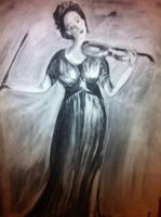 Woman with violin by Purplepies