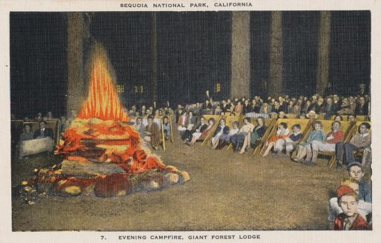 Vintage California - Lodge Campfire, Giant Forest by Yesterdays-Paper