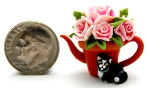 kitten cat rose pot teapot by WEE-OOAK-MINIATURES