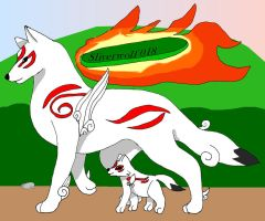 Amaterasu and Chibiterasu by sliverwolf018