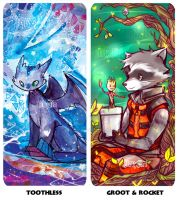 Toothless and Rocket groot prism bookmarks by jinyjin