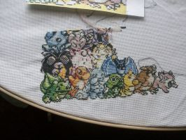 pokemon 150 cross-stitch W.I.P 013 by cainslove