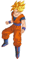 Goku SSJ 1 Render/Extraction PNG by TattyDesigns